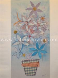watermarked blue flowers in vase
