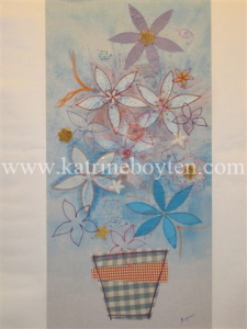 watermarked blue flowers in vase